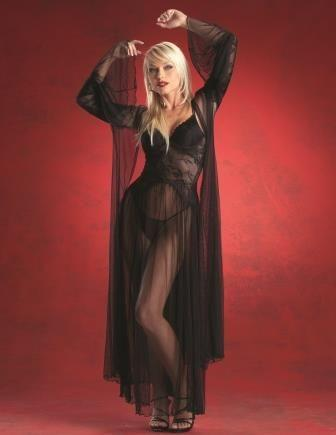 sort langærmet kjole